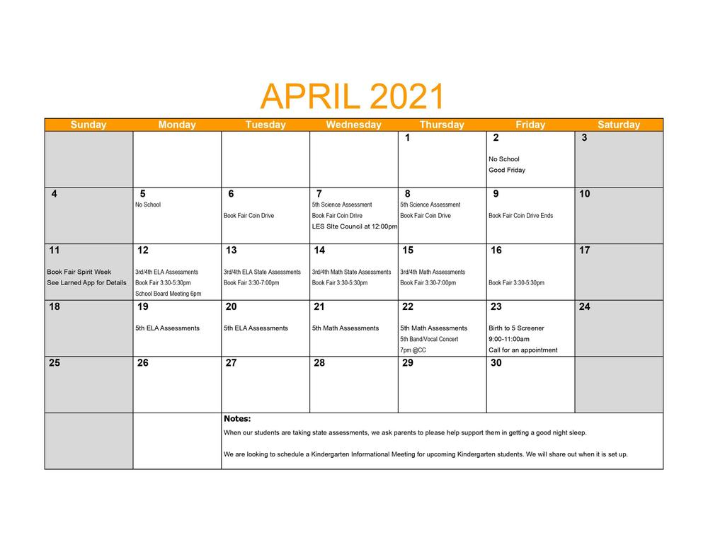 LES April Events