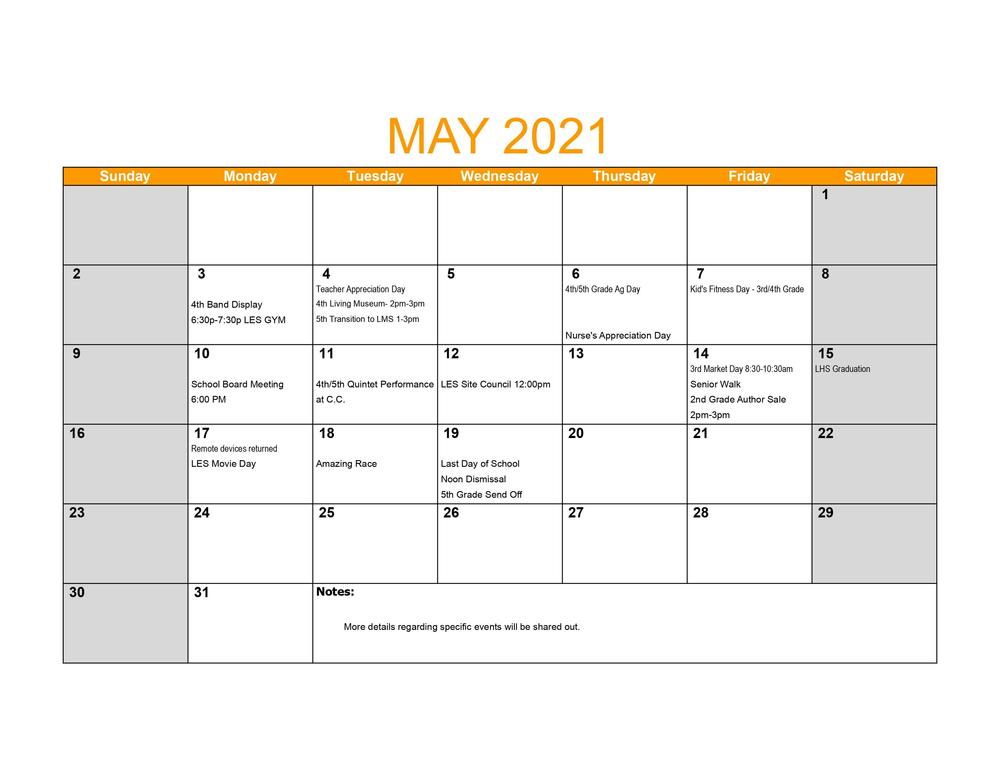 LES May Events