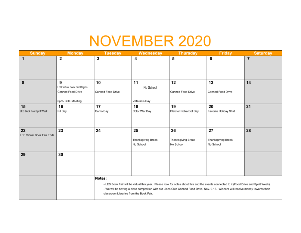 LES November Events