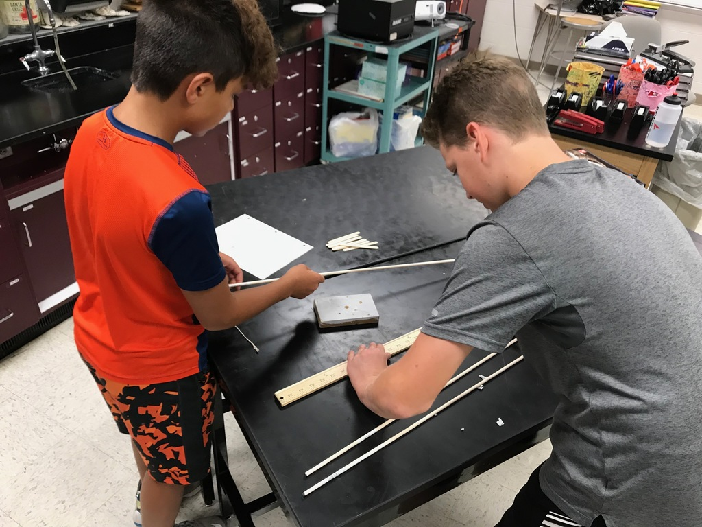 Two students planning their crane.