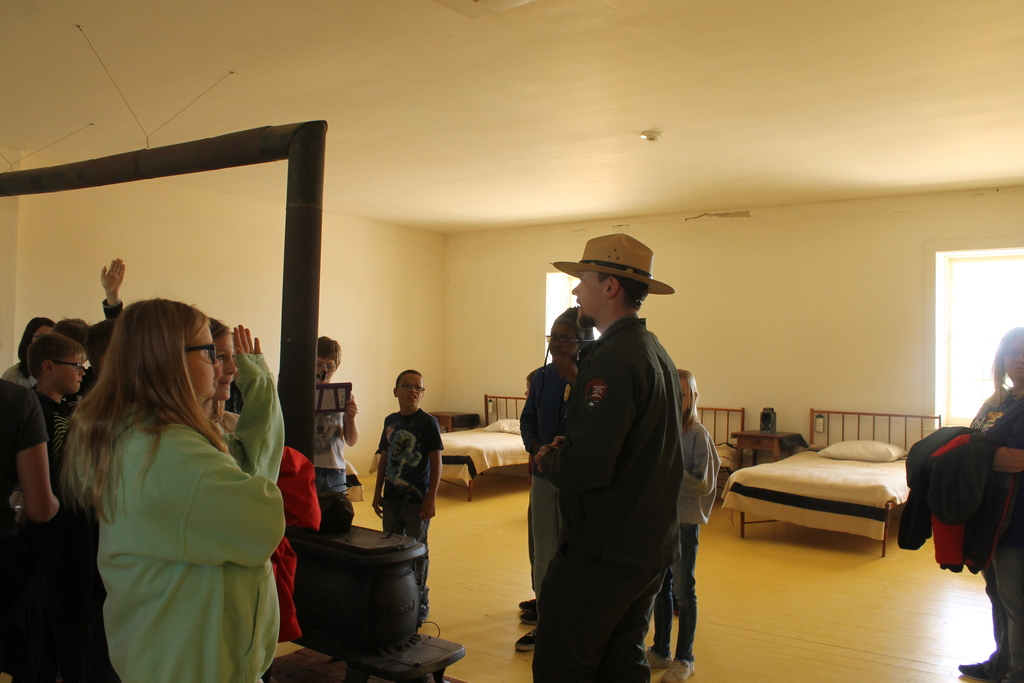 Park Ranger describing how the rooms were heated.