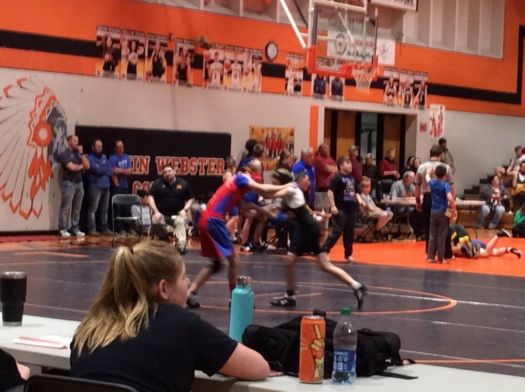 LMS wrestlers in action